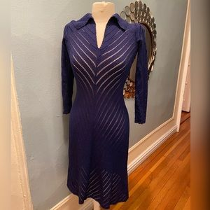 Cobalt Blue Knit Fitted Lined Sleeved Maxi Dress